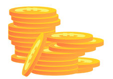 Stacks of Gold Coins Euro Royalty Free Stock Photo