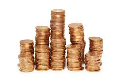 Stacks on gold coins isolated. On white Stock Photo