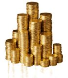 Stacks of a Gold Coins - Isolated. Golden stack background money isolated treasure wealth Stock Photography