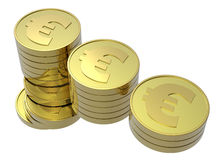 Stacks of gold coins isolated on white. Computer generated 3D photo rendering Royalty Free Stock Images