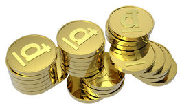 Stacks of gold coins isolated on white Stock Photo