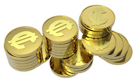 Stacks of gold coins isolated on white. Computer generated 3D photo rendering Stock Images
