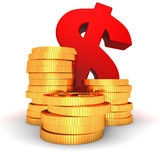 Stacks of gold coins and red dollar symbol Royalty Free Stock Photography
