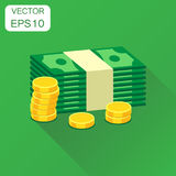 Stacks of gold coins and stacks of dollar cash icon. Business co vector illustration