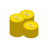 Stacks of Gold Coins symbol. Flat Isometric Icon or Logo. Royalty Free Stock Image
