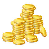Stacks of gold coins on white background Royalty Free Stock Photography