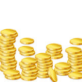 Stacks of gold coins on white background Royalty Free Stock Images