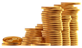 Stacks of gold dollar coins. Stacks of golden dollar coins on white background Stock Illustration