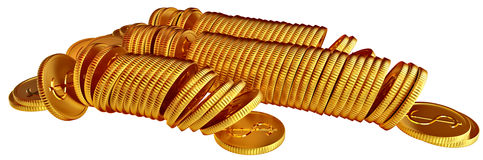 Stacks of gold dollar coins. Stacks of golden dollar coins on white background Royalty Free Stock Photos