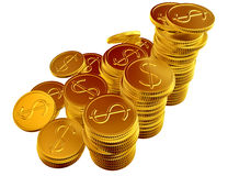 Stacks of gold dollar coins Stock Photo