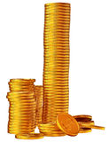 Stacks of gold dollar coins Royalty Free Stock Photography