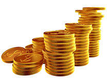 Stacks of gold dollar coins Stock Photos