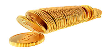 Stacks of gold dollar coins. Stacks of golden dollar coins on white background Stock Photos