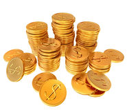 Stacks of gold dollar coins Royalty Free Stock Photo