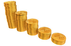 Stacks of gold dollar coins Stock Images