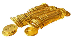 Stacks of gold dollar coins. Stacks of golden dollar coins on white background Royalty Free Illustration