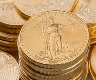 Collection of one ounce gold coins Royalty Free Stock Photography