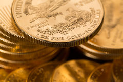 Collection of one ounce gold coins Royalty Free Stock Photo