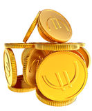 Stacks of gold EURO coins Royalty Free Stock Photo