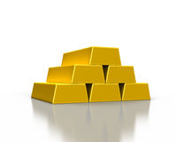 Stacks of gold ingots. Or golden bullion bars on white background Stock Image