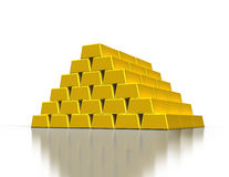 Stacks of gold ingots. Or golden bullion bars on white background Stock Images