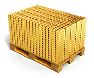 Stacks of gold ingots on shipping pallet Royalty Free Stock Images