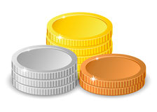 Stacks of gold, silver and bronze coins in different heights with gold the tallest in two different variants. Illustration isolated on white Royalty Free Illustration