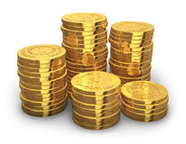 Stacks of golden coins. Isolated on white background Stock Photos