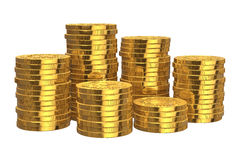 Stacks of golden coins. Isolated on white background Stock Photo
