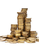 Stacks golden of coins Royalty Free Stock Photos