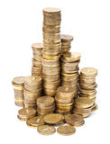 Stacks of golden coins Stock Image