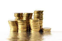 Stacks of golden coins Royalty Free Stock Photos