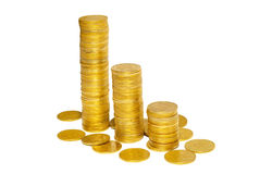 Stacks of golden coins. Royalty Free Stock Photo