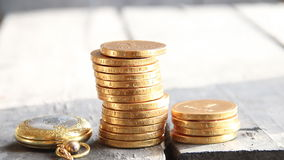 Stacks of golden coins. Business, bank or finance concept. stock footage