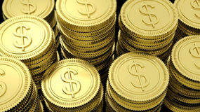 Stacks of golden coins with Dollar symbol Stock Image