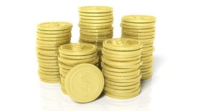 Stacks of golden coins with Dollar symbol Stock Photos
