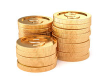 Stacks of golden coins isolated on a white background Stock Images