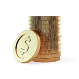 Stacks of golden coins isolated on a white background Royalty Free Stock Photos
