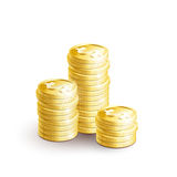 Stacks of golden coins-01 Royalty Free Stock Images
