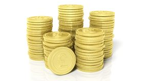 Stacks of golden coins with Pound symbol Royalty Free Stock Images