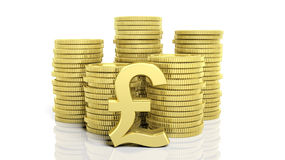 Stacks of golden coins and a Pound symbol Royalty Free Stock Photo