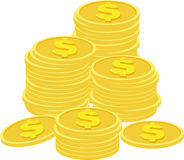 Stacks of golden coins  on a white background. Royalty Free Stock Image