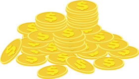 Stacks of golden coins  on a white background. Stock Photo