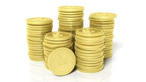 Stacks of golden coins with Yen symbol Royalty Free Stock Photography