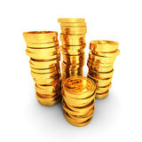 Stacks of golden dollar coins on white background Royalty Free Stock Photo