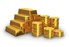 Stacks of golden ingots and coins. Isolated on white background Royalty Free Stock Photography