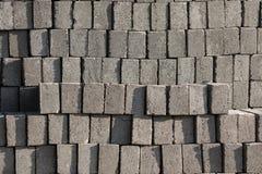Stacks of Gray Concrete Bricks Stock Photo