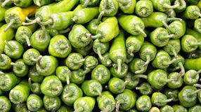 Stacks of green peppers. On street market Royalty Free Stock Photography