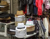 Stacks of Hats in a Market. In Sorrento Royalty Free Stock Images