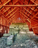 Stacks of hay. Inside the Gifford barn at the Fruita Oasis in Capitol Reef National Park, Utah stock image